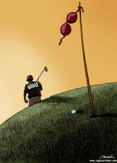 Woods walks away...