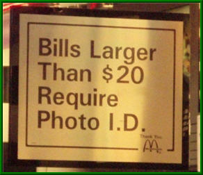 Bills Larger Than $20 Require Photo ID