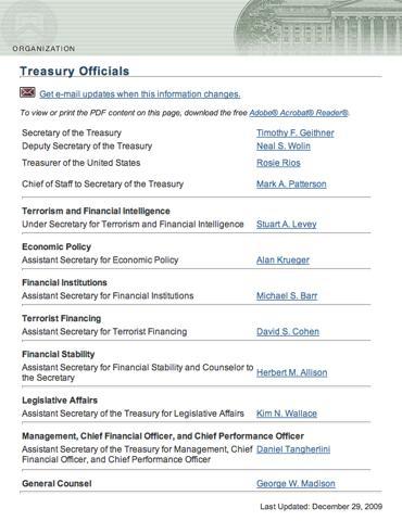 U.S. Treasury - Treasury Officials