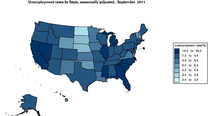 BLS unemployment map, September 2011