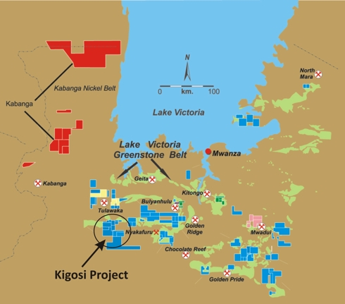Kigosi Location Map Among Other TRX Mineral Properties