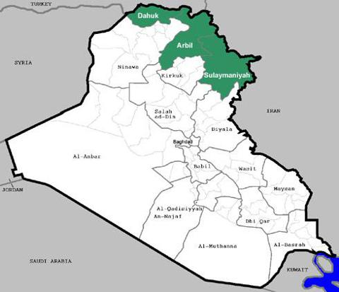 Map showing Kurdistan region of Iraq (green)