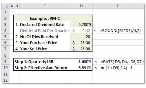 Effective Annual Return calculator for a preferred stock investment