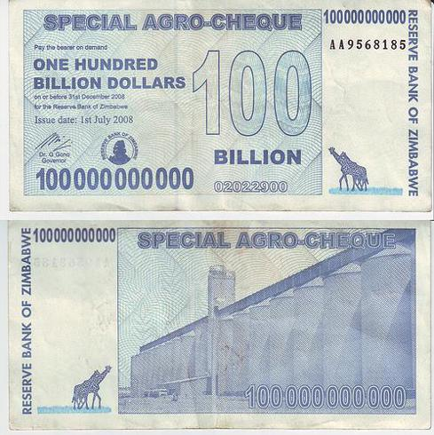 100 billion Zimbabwe Dollars
