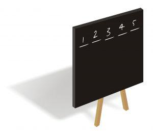 Blackboard with list of 5