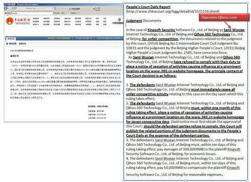 Qihoo 360 technology and Qihoo.com in contempt of court