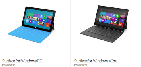 Windows Surface RT and Windows Surface Pro