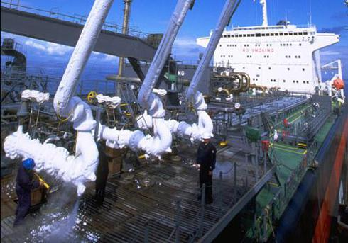 cold iced pipes on LNG carrier