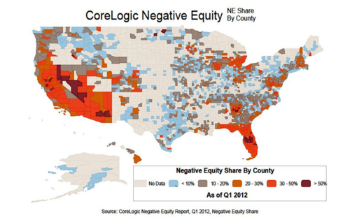 CoreLogic Negative Equity by County 1st Q 2012