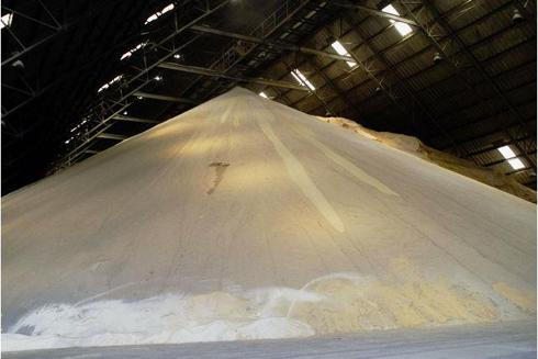 Sugar piled in a warehouse in Brazil