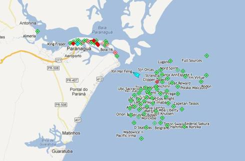 Port of Paranaguá Brazil showing ship traffic