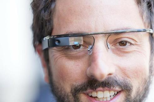 Sergey Brin wearing Google Glass