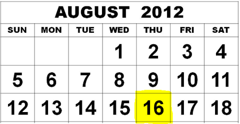 August Calendar Apple Dividend Payable Date August 16, 2012