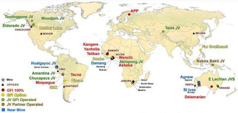 Gold Fields Inc. map of global operations