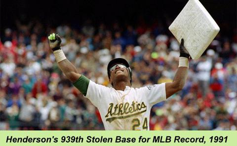 Ricky Henderson MLB record-setting stolen base leader 1991