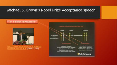 Nobel Prize winner Michael Brown citing HoFH prevalence rate in acceptance speech