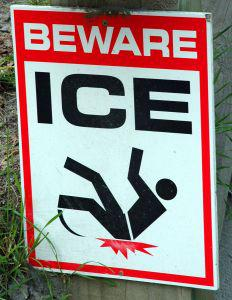 Beware Ice sign