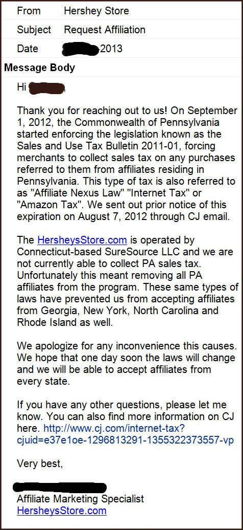 The Hershey Store Email Message