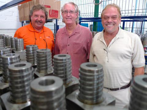 Left to right: Roger Girard, president of Ace Drilling Supplies; Dudley Baker, founder and editor of Common Stock Warrants and Junior Mining News; and, Serge Lussier, operations manager of Ace Drilling Supplies.