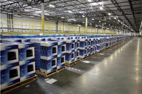 A large PS4 shipment in a Amazon Store warehouse