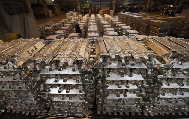 Aluminium stocks piled high in a Goldman Sachs metals warehouse in Detroit (Reuters)