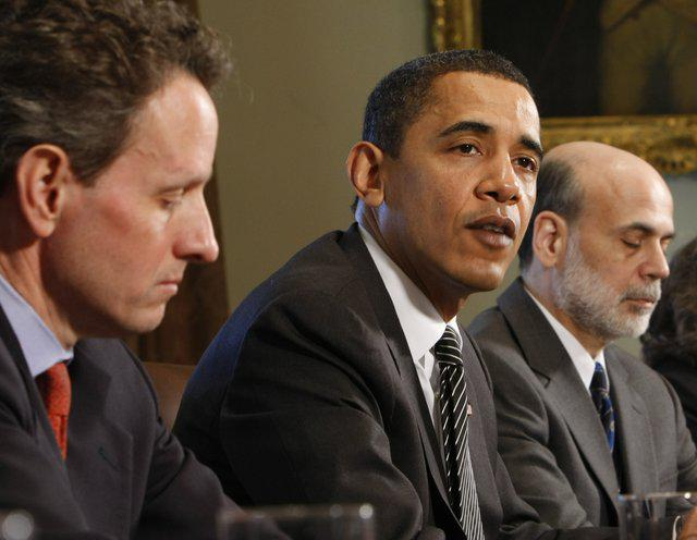 Treasury Secretary Timothy Geithner, President Barack Obama and Federal Reserve Chairman Ben Bernanke