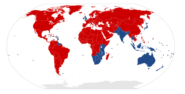 Right Hand Drive (left side driving) countries are shown in blue.
