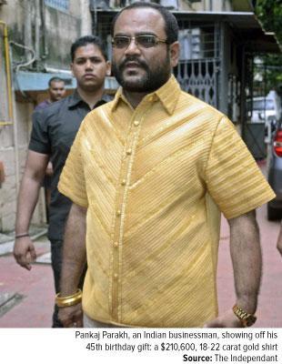 Ft-Pankaj Parakh, an Indian businessman showing off his 45th birthday present gift a $210,600 18 carat gold shirt